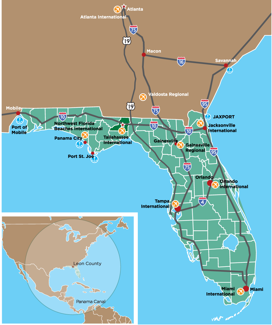 Map Of Florida Showing Tallahassee.The Park Innovation Park Com